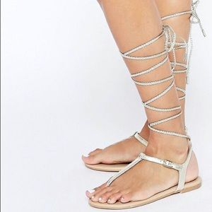 Aldo Peplow Silver Leather Gladiator Sandals 9 NWT